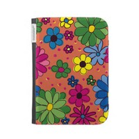 Colorful Orange Floral Kindle Case from Zazzle.com