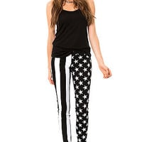 Tripp NYC Pant Stars and Stripes Skinny in Black