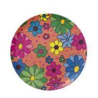 Orange and Brightly Colored Flowers Plate from Zazzle.com