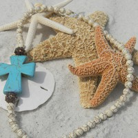 Sideways Turquoise Cross Necklace w/ Howlite Beads