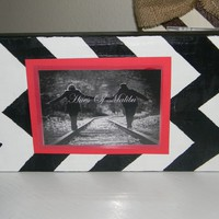Black and White Chevron Striped Painted Distressed Chunky Photo Frame