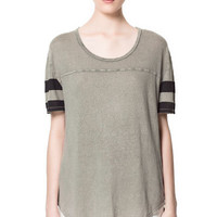 STRIPED SLEEVE T - SHIRT - T - shirts - Woman | ZARA Canada