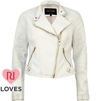 White leather look cropped biker jacket - leather / leather look jackets - coats / jackets - women