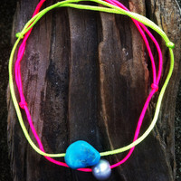 Neon Turquoise Nugget Anklet