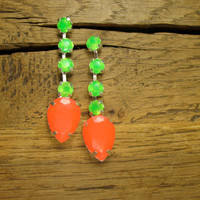 Linear Tropical Green and Hibiscus Crystal Tear Drop Earrings
