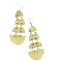 Long Segmented Metal Earring - Gold