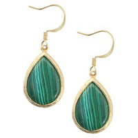 Malachite Fish Hook Earring