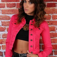 Pink Cropped Denim Jacket from missbehaver