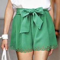Green Shorts with Scalloped Hem and Tie Waist Bow from AniXia