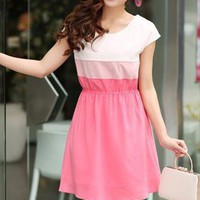 pink white summer chiffon dress elegant final sale l219 from YRB