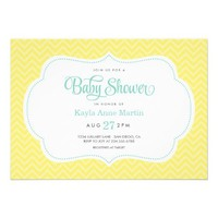 YELLOW & AQUA SWEET CHEVRON BABY SHOWER CUSTOM INVITES from Zazzle.com
