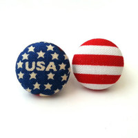 Usa american flag small fabric button earrings