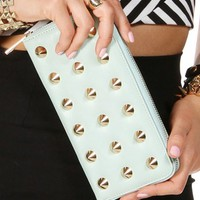 Mint Studded Zipper Wallet