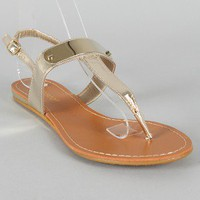 Bamboo Saili-01 Metallic Leatherette Metal Shield Flat Sandal