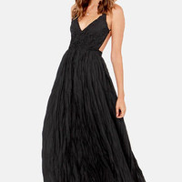 Snowy Meadow Crocheted Black Maxi Dress