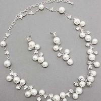 Amazon.com: Bridal Wedding Jewelry Set Austrian Crystal Rhinestone Pearl White: Jewelry