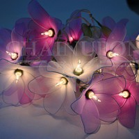 PURPLE TONE FLOWER STRING FLORAL,PATIO,FAIRY,DECOR,TEEN GIRL ROOM,WEDDING LIGHTS