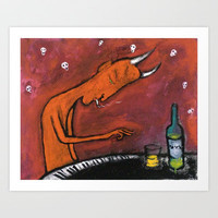 Underground pianist Art Print by Amalia Low