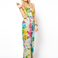 ASOS Maxi Dress In Tie Dye With Peace Sign