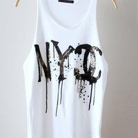 White Tank with NYC Graffiti Print