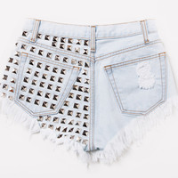 Dangers Frayed Studded Shorts - Pale Blue