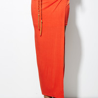 Pull My Chain Belt Slit Skirt in Tangerine