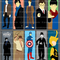 Doctor Who / Harry Potter / BBC Sherlock / Merlin / Captain America / Loki / Indiana Jones / Charlie Chaplin Bookmarks