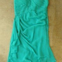 Teal Pleats and Ruffles Dress [2505] - $36.00 : Vintage Inspired Clothing & Affordable Summer Frocks, deloom | Modern. Vintage. Crafted.