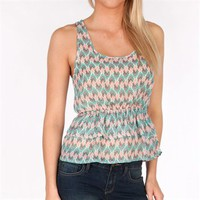 One Clothing Juniors Sheer Printed Peplum Tank at Von Maur