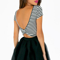 Scooping Stripe Bow Crop Top $22