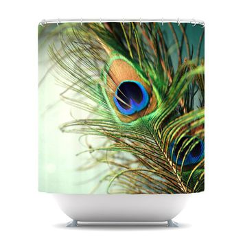 """Sylvia Cook """"Teal Peacock Feather"""" Shower Curtain - 69"""" x 70"""" / Polyester"""