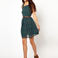 Glamorous Belted Skater Dress In Leopard Print