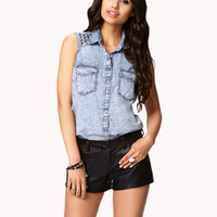 Acid Wash Snap Button Shirt | FOREVER 21 - 2058390451