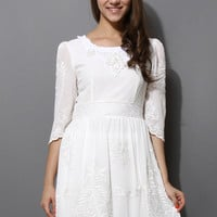 White Lace Embroidery Mid-Sleeve Dress