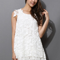 Full Crochet Floral White Dress with Fluted Hemline