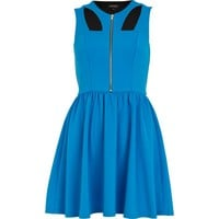 Blue cut-out zip front skater dress - skater dresses - dresses - women
