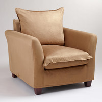 Moccasin Microsuede Luxe Chair Slipcover