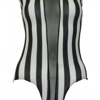 Black and White Striped Bodysuit with Mesh Panel Insert