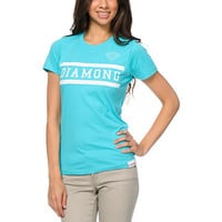 Diamond Supply Girls Collegiate Turquoise Tee Shirt
