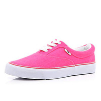 Bright pink canvas lace up sneakers - plimsolls / sneakers - shoes / boots - women