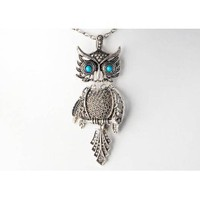 Vintage Inspired Silver Color Tone Blue Turquoise Eye Bird Owl Pendant Necklace