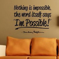 Amazon.com: Audrey Hepburn I'm Possible Wall Decal Decor Quote...Large Nice: Everything Else