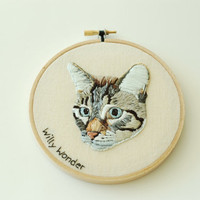 Hand Embroidered Custom Pet Portrait. Unique Customized Animal Picture. Made To Order Hand Stitched Pet Art. Hand Sewn By Hoopla.
