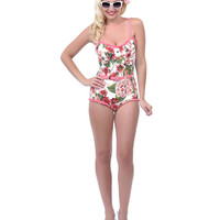 Pink & Green Floral Belted Bathing Suit - Unique Vintage - Prom dresses, retro dresses, retro swimsuits.