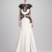 Lela Rose Cap-Sleeve Backless Lace & Cady Gown, Black/Ivory