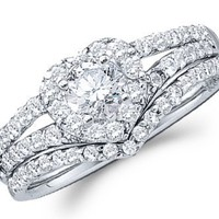 Heart Diamond Engagement Ring Wedding Bridal Set 14k White Gold 3/4 CT, Size 5