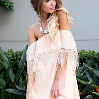 Peach Off the Shoulder Dress with Layered Lace Top Detail