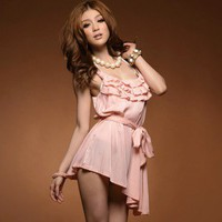 Fashion Lotus Leaf Design Dress With Belt Blouse Pink-Wholesale Women Fashion From Icanfashion.com