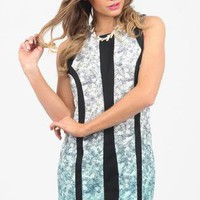 Floral Print Ombre Style Party Dress with Black Panel Detail