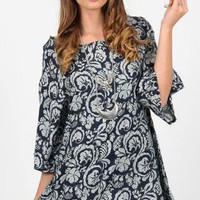 Black Floral Print Party Dress with Split Sleeves